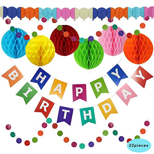 """Birthday Party Decorations - Large Happy Birthday Banner, Extra Large 12"""" Honeycomb Balls & Extra Long Garlands – Happy Birthday Party Supplies by Pretmanns Joy Red Letters"""