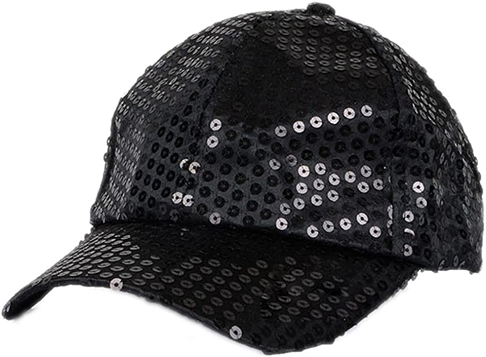 fd3c883da4d Braceus Glitter Sequins Baseball Caps Snapback Hats Party Outdoor  Adjustable Hat For Women Men (Black