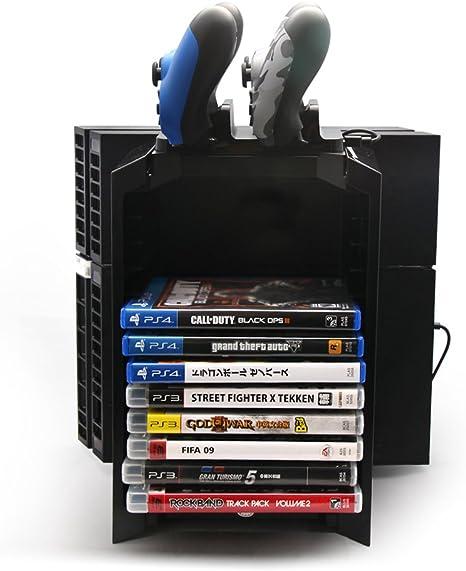 3 en 1 Multifuncional Accesorios Kit Videojuegos Disco Torre de almacenamiento y la consola de pie