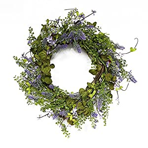Puleo International 22-inch Artificial Lavender Wreath Potted Plant 12