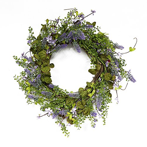 Puleo International 22-inch Artificial Lavender Wreath Potted Plant