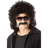 ALLAURA 80's Costume Wig Man Perm & Moustache Black Mens 70s Afro Wigs