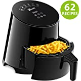 Air Fryer, 1Easylife Airfryer with 62 Cookbook, Air Cooker with Dishwasher Safe and Non-Stick Fry Basket, Auto Shut Off & Timer, Intelligent Touch Screen LED Control, 1500W, Black