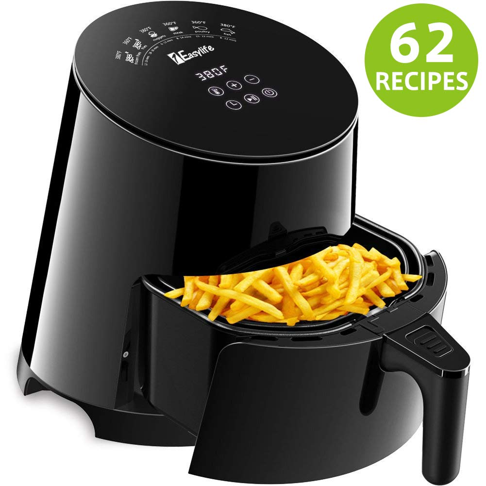 Air Fryer, 1Easylife Airfryer with 62 Cookbook, 3.7 Quarts Air Cooker with Dishwasher Safe and Non-Stick Fry Basket, Auto Shut Off, Intelligent Touch Screen LED Control, 1500W, Black