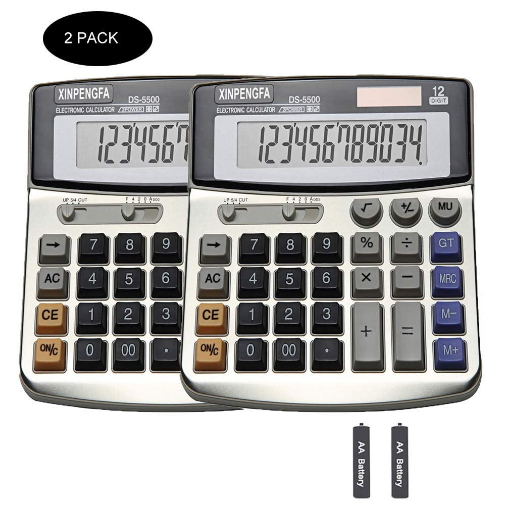 XINPENGFA Office Calculator, Solar and Battery Dual Power, Metal Surface 12 Digit Display Big LCD and Large Button(Pack of 2) by XINPENGFA