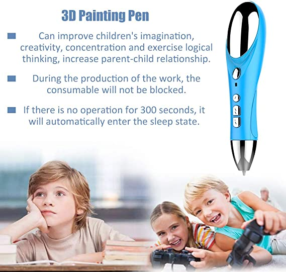 3D Painting Pen+10 Meters Consumable+USB Cable,Roeam Intelligent Adjustable Speed 3D Stereo Painting Pen High Temperature Graffiti 3D Printing Pens with USB Cable