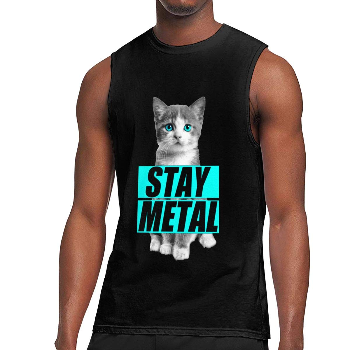 Seuriamin Stay Metal Cute Cat Jogging Sleeveless Muscle Short Sleeve Shirts