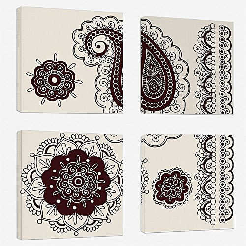 4pcs/set Modern Painting Canvas Prints Wall Art For Home Decoration Henna Print On Canvas Giclee Artwork For Wall DecorIntricate Hand Drawn Tattoo Paisley Doodle Eastern Culture Inspired Design Decora