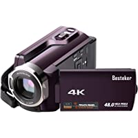 Camera Camcorder, Besteker 4K Wi-Fi Ultra HD Camcorder 48MP Video Camcorder 16x Digital Zoom Camcorder with Infrared Night Vison,Remote Control,3.0IN Rotation Touch Screen