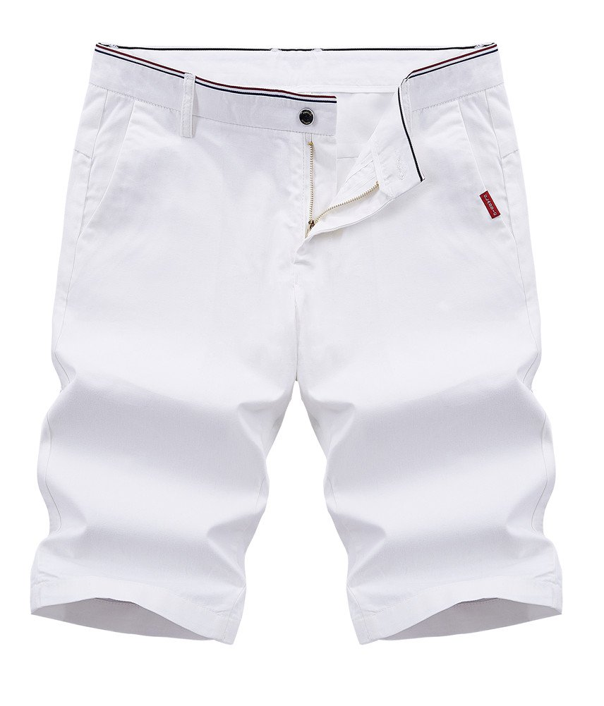 Lovelelify Men's Chino Short Cotton Flat-Front Golf Short US 36/Asian 36 White 61223