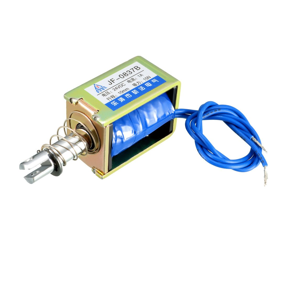 uxcell JF-0837B DC 24V 1A 15N 10mm Pull Type Open Frame Linear Motion Solenoid Electromagnet