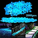 LFBEST 200pcs Glowing Garden Pebbles, Glow in the Dark Pebbles Decorative Stones For Bicycle Pathway Walkways & Decor, Solar Power Luminous Stones Glowing Rocks for Plants Pot, Fish Tank (Blue)