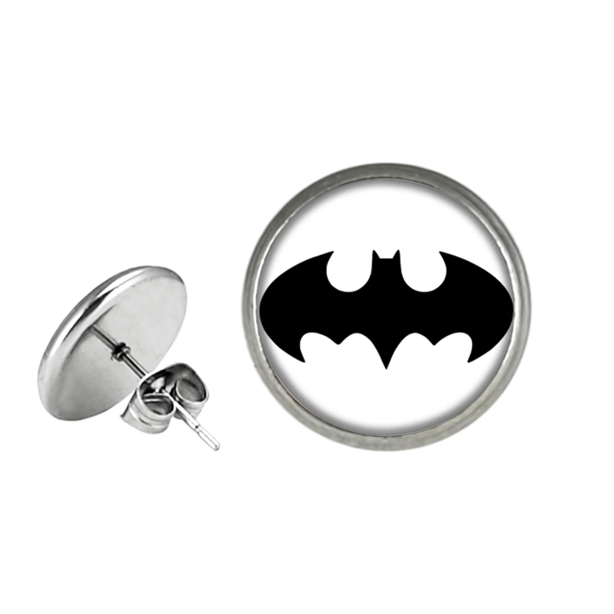 Batman Premium Quality Silvertone Post Stud Earrings