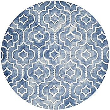 Safavieh Dip Dye Collection DDY538K Handmade Geometric Moroccan Watercolor Blue and Ivory Wool Round Area Rug (7 Diameter)