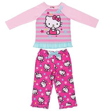 d6d7d499f Amazon.com: Komar Kids Hello Kitty Little Girls Long Sleeve Top & Fleece  Pants Pajama Set: Clothing