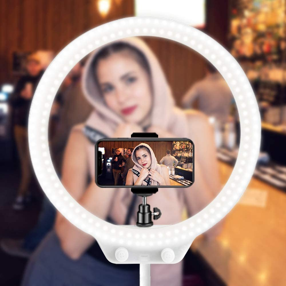 Make Up Beauty Live Streaming MountDog LED Ring Light 10 Makeup Mirror with Dimmable 3 Light Modes 3200-5500K On-Camera Light and Phone Holder Soft Tube Stand for YouTube Videos