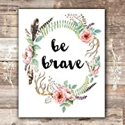 Be Brave Floral Wreath Art Print - Unframed - 8x10