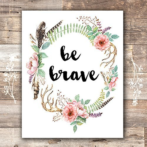 (Be Brave Floral Wreath Art Print - Unframed - 8x10)