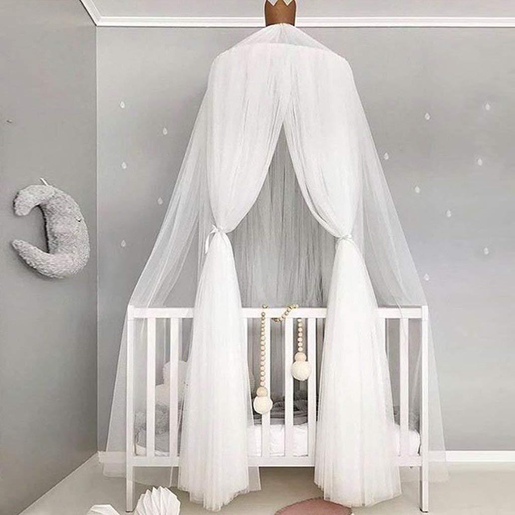 Baldachin für Kinder Romantischer Betthimmel Moskitonetz Kinderbett für Kinderzimmer hängende Moskitonetz für Schlafzimmer Ankleidezimmer Spiel lösen Zeit (Weiß)