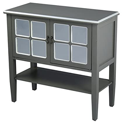 accent console cabinet cheap heather ann creations modern door accent console cabinet with pane mirror insert and bottom amazoncom