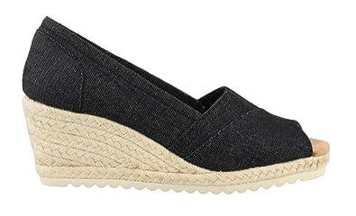 Skechers Women's, Monarchs Summer Days Mid Heel Wedge Sandals Black ...