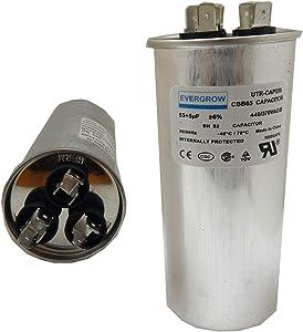 EverGrow 50+5 MFD uf 370 or 440 Volt VAC Round Dual Run Capacitor for Air Conditioner or Heat Pump Condenser - 50/5 Microfarad - Runs AC Motor and Fan (CAP-DUAL -169)