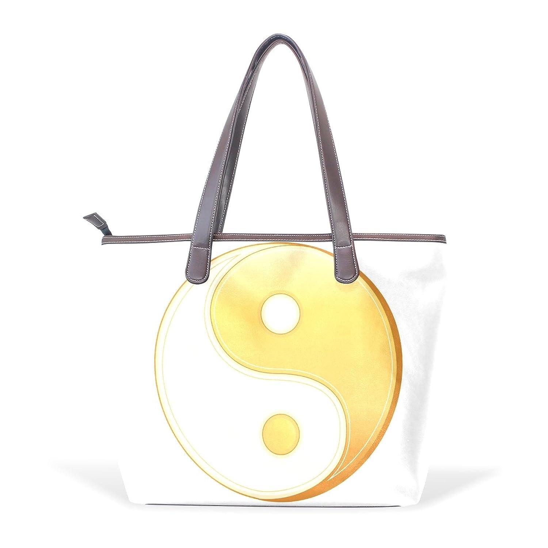Womens Leather Tote Bag,Tai Chi Bagua Yin Yang Golden,Large Handbag
