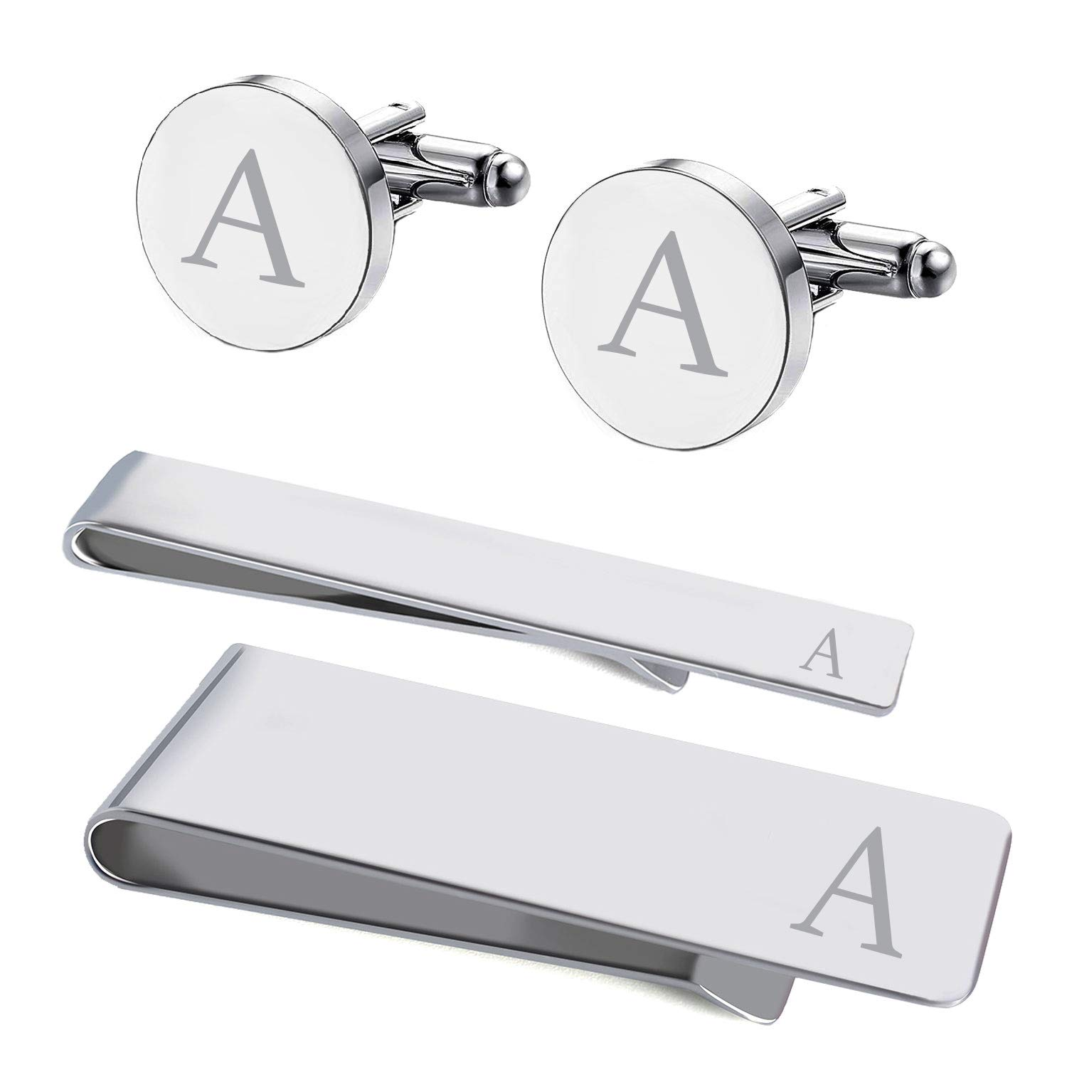 BodyJ4You 4PC Cufflinks Tie Bar Money Clip Button Shirt Personalized Initials Letter A Gift Set