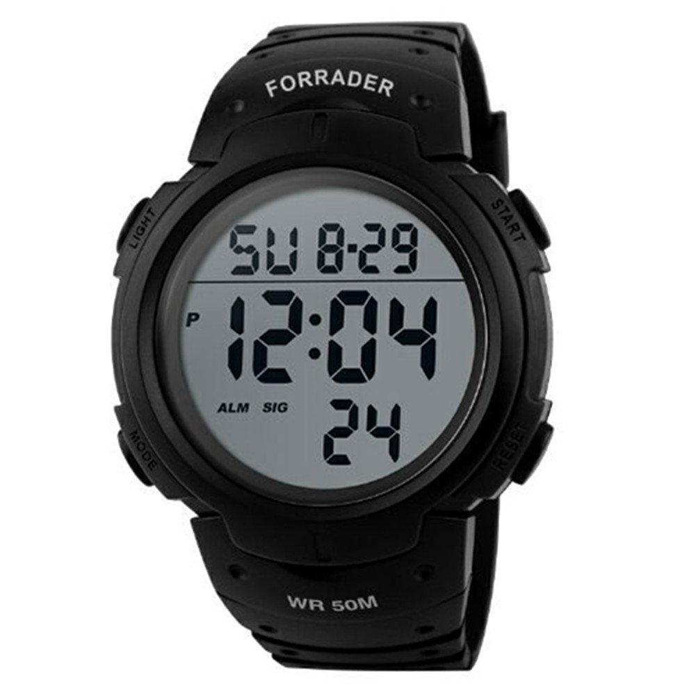 Forrader Unisex Men Women Outdoor Waterproof Screen Digital LED Sport Wrist Watches Stopwatch Chronograph