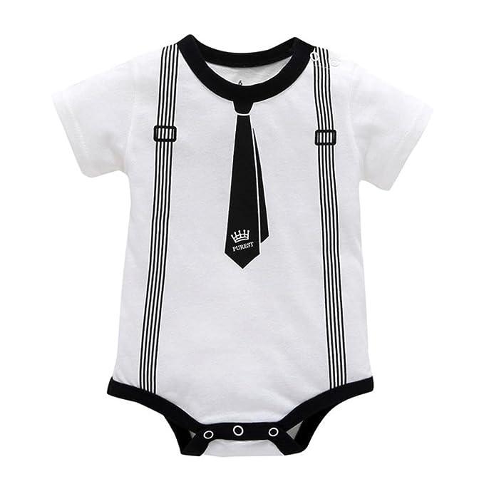 Jimmackey Neonato Ragazzo Manica Corta Pagliaccetto Stampa Cravatta Bowknot  Tuta Romper Vestiti  Amazon.it  Abbigliamento cc67956535d