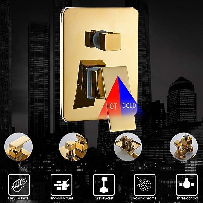 Sistema de ducha Grifos de ducha LED dorados, montaje en pared, ducha de baño LED, grifo mezclador de 3 funciones, ducha de hidromasaje SPA Massage Jets de 6 piezas, juego completo de