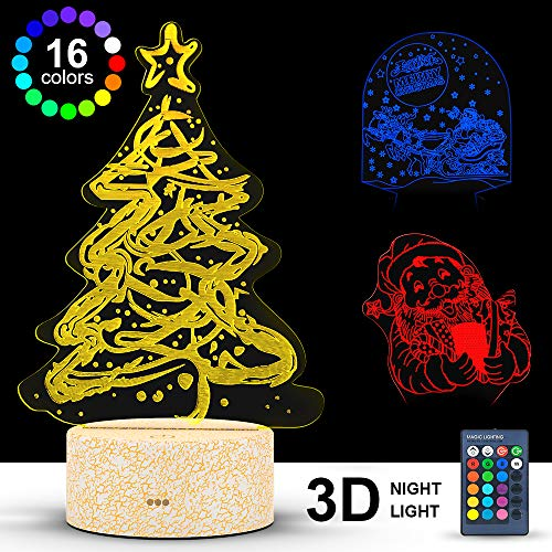 3D Illusion Lamp, VersionTECH. 3D Lamp, Christmas Theme Night Light with Remote Control and Smart Touch, 16 Color Lights and 4 Flashing Modes for Home Deco, As a Gift Ideas