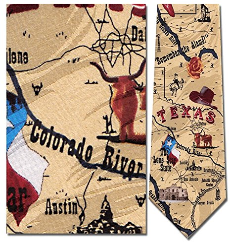 Men's 100% Silk Beige All Things Texas Sites & Map Tie Necktie (Texas Neckties)