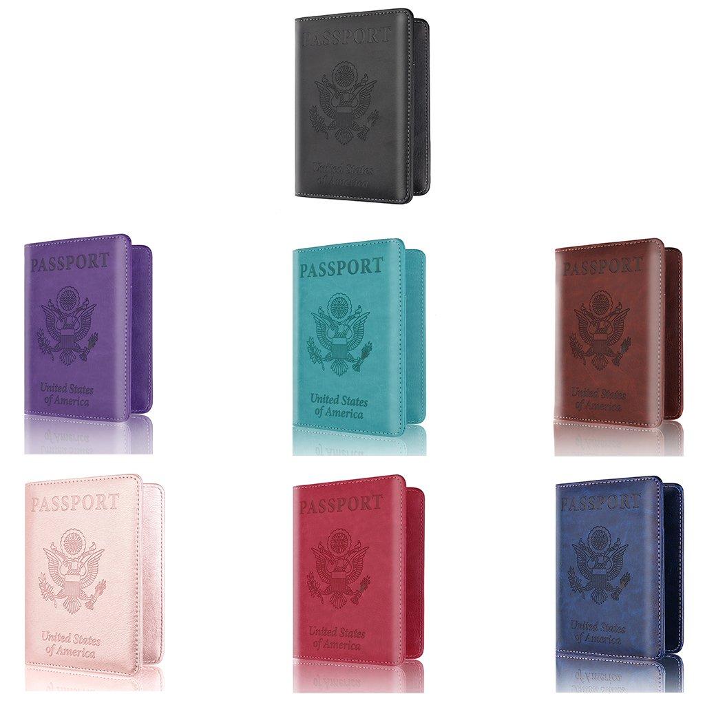 Black EA-STONE Men Women PU Leather Passport Cover with RFID Blocking,Card Holder Passport Case Travel Wallet,14x10 cm