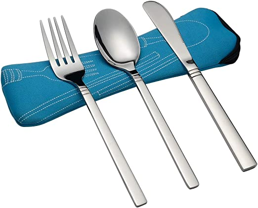 UK Pair of 4 Piece Camping Holiday Travel Cutlery with Cases Fast Delivery.