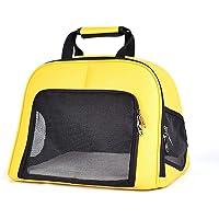 LEERAIN Haustier Handtasche Katze Tasche HüNdchen Hund Tragbar Schulranzen Gelb PU Weich Grosse KapazitäT Atmungsaktiv Reise Draussen 43 * 35 * 32 cm