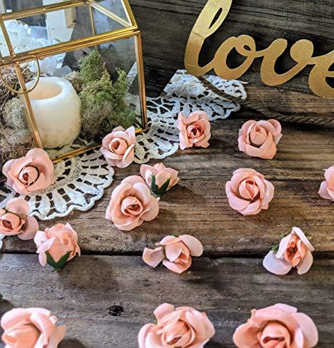 Wedding Table Decor, Dessert Table Decor, Baby Shower Table Decorations, Mini Rose Buds Peach, Flower Confetti ()