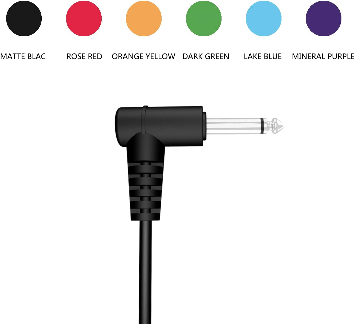 MIMIDI Pedal Patch Cable Low Noise PVC Jacket Instruments Cables 6-Pack Colored 6 Inch Colored Guitar Pedalboard Cords with 1//4 Inch Right to Right Angle