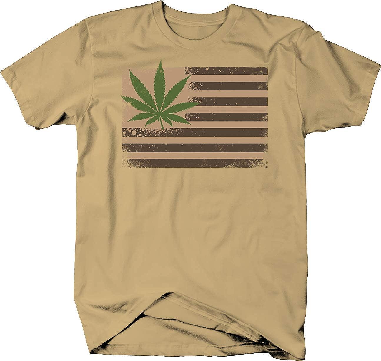 Marijuana Flag Hemp Chill Vibes Stoned High Weed T shirt for men