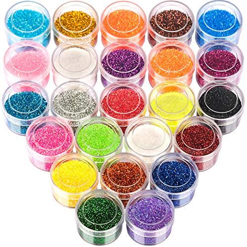 24 Colors Glitter Set, FANDAMEI 24 Boxes 5g Fine Glitter, Nail Art Glitter for Halloween Makeup, Cosmetic, Festival…