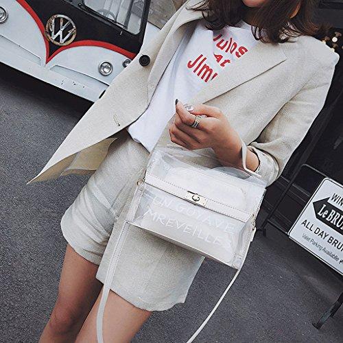 GuoFeng Bolso de Verano Transparente, Bolso de Jalea de Bloqueo de Moda Coreana, Bolso de Mensajero de Hombro. (Color : La Plata) Blanco