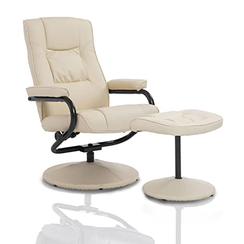 HOMCOM Executive Recliner Chair High Back Swivel Armchair Lounge Seat W/  Footrest Stool (Cream