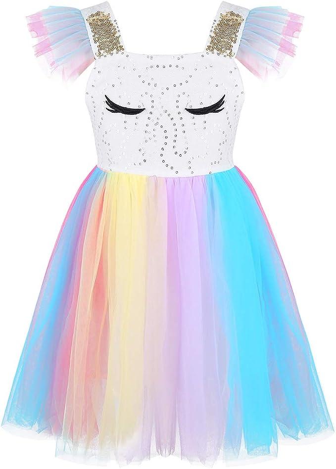 Agoky Disfraz de Unicornio para Niña Vestido Tutú de Princesa ...