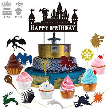 30 x Game of Thrones Houses Edible Cup Cake Toppers in Rice Paper and Icing