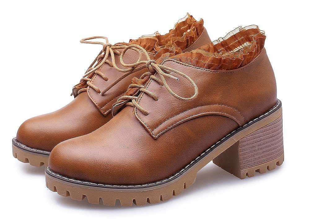 Mofri Womens Sweet Round Toe Low Top Lace up Block Medium Heel Oxfords Shoes