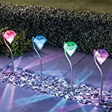 4 X Solar Lights Garden LED Colour Changing Diamond Solar Lights Stainless Steel Stake Lights LED Garden Lanterns by NORDSD