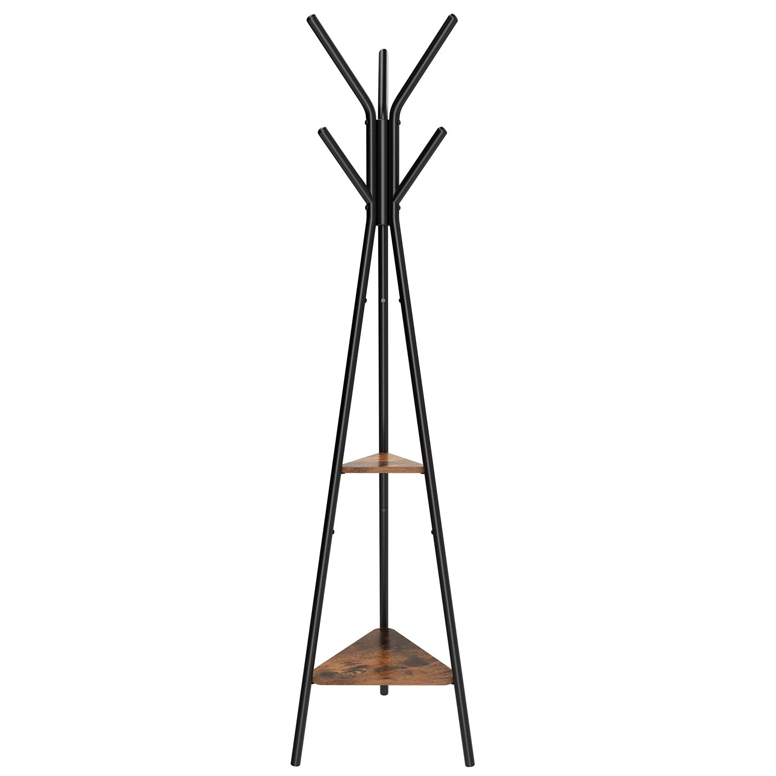 SONGMICS Coat Rack Stand, Coat Tree, Hall Tree Free Standing, Industrial Style, with 2 Shelves, for Clothes, Hat, Bag, Black, Vintage URCR16BX by SONGMICS