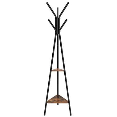 SONGMICS Coat Rack Stand, Coat Tree, Hall Tree Free Standing, Industrial Style, with 2 Shelves, for Clothes, Hat, Bag, Black, Vintage URCR16BX