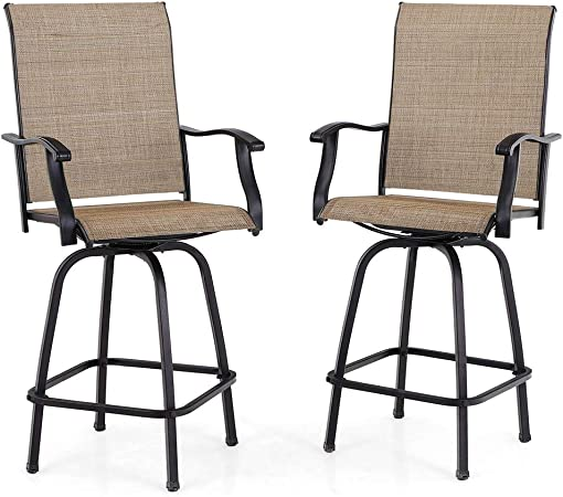 Amazon Com Phi Villa Swivel Bar Stools All Weather Patio Furniture 2 Pack Garden Outdoor