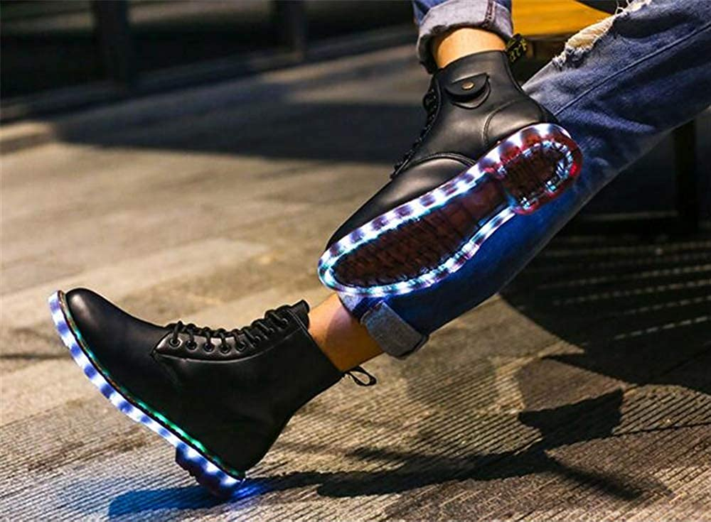 LUOBM LED Light Shoes High Help Natural Leather Martin Boots Charging Couple Shoes (Black,Lable 46//11.5 D M US Men)